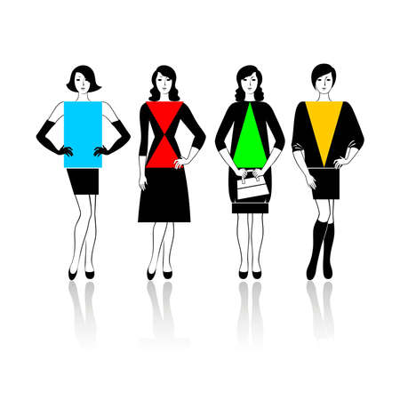Four types of a female figure Illustration