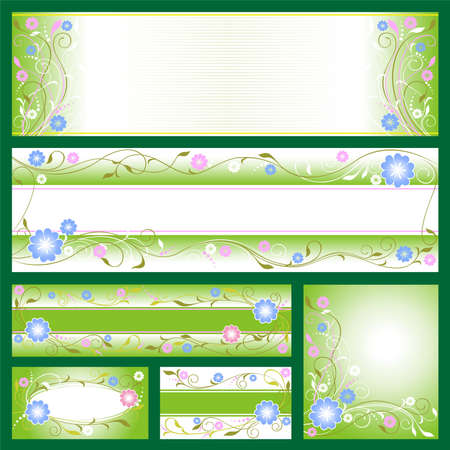 vector banners: Set from different banners with flower motives Illustration