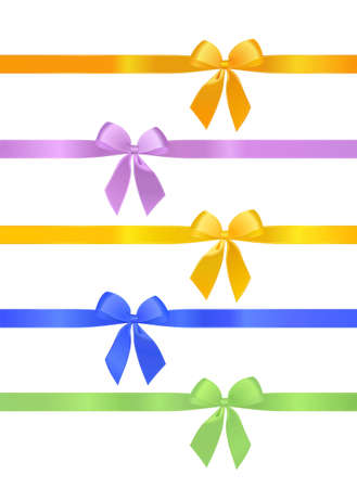 outset: bows of different colors isolated from each other