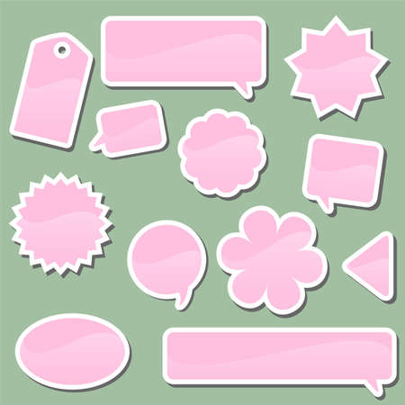 Set of pink labels on a green background Vector