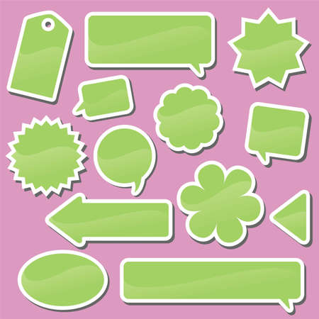 Set of green labels on a pink background