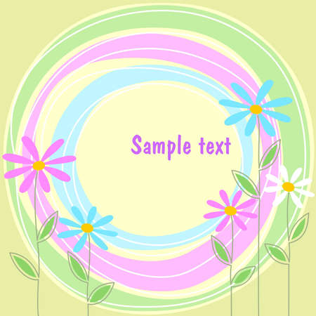 abstract frame on a green background with flowers