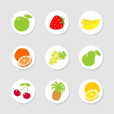 Set of stickers, labels with fruit and berries Vector