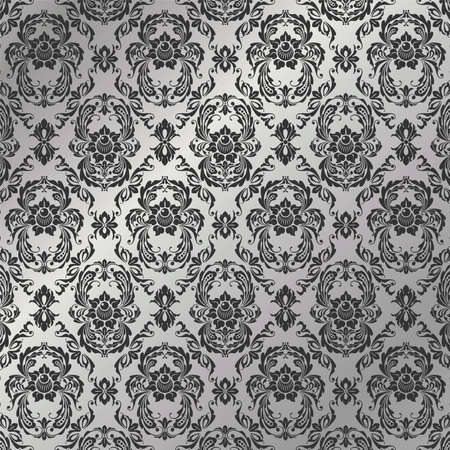 ordered: Graceful decorative wallpaper of silvery tones