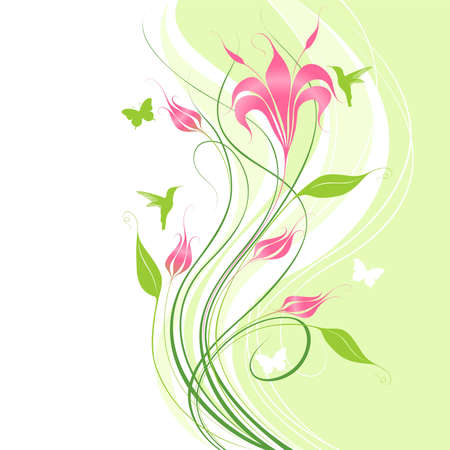 Abstract green background with pink flowers