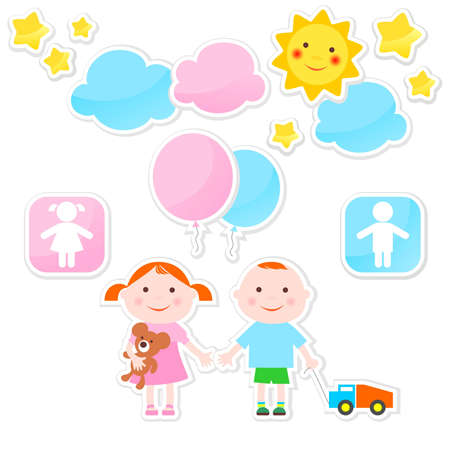 Set of stickers with children's figures Illustration