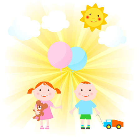 Children's figures, clouds, the sky and the sun Illustration