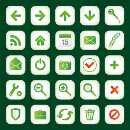 Set from twenty five green web of icons Vector
