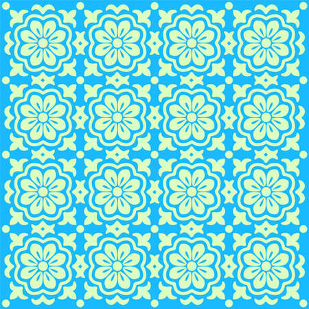 ordered: green flower patterns on a blue background