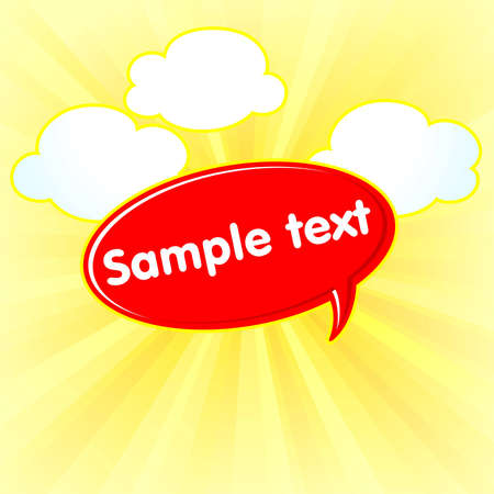allocate: red border on a yellow background with clouds Illustration
