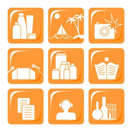 pharmaceutics: Nine orange icons for manufacturers of cosmetic production Illustration