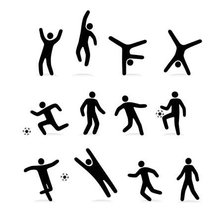 stylized sports people engaged in football Illustration