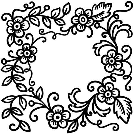 black floral patterns on white background Stock Vector - 5119770