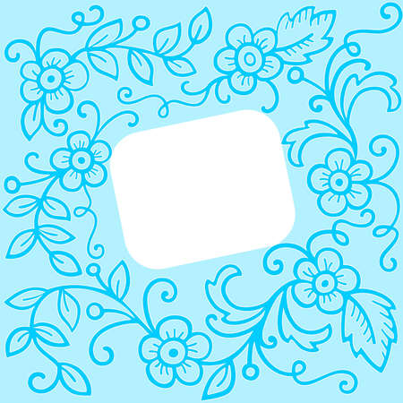 White frame on a blue floral background Vector