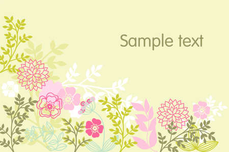 grasses: stylized flowers and grasses on a green background Illustration