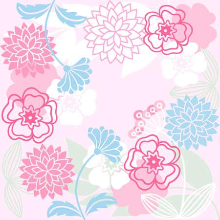gramineas: estilizados de flores y hierbas en un fondo de color rosa Vectores