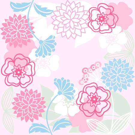 grasses: stylized flowers and grasses on a pink background