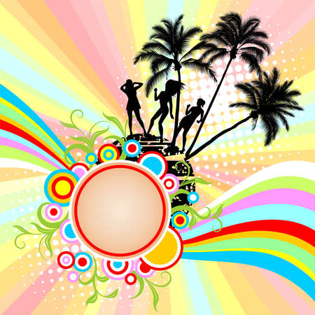 Background with palm trees and a rainbow Stock Vector - 5156024
