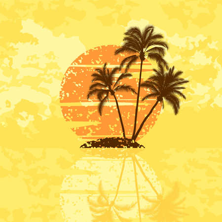 grunge tree: Island with palm trees on a sunset Illustration
