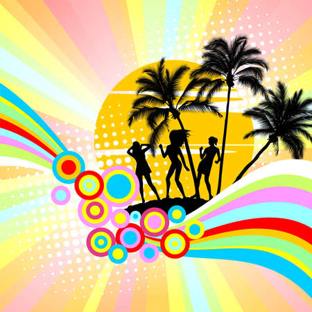 Background with palm trees and dancing girls Vector