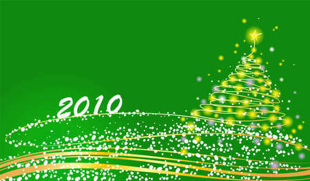 furtree: Christmas fur-tree on a green background