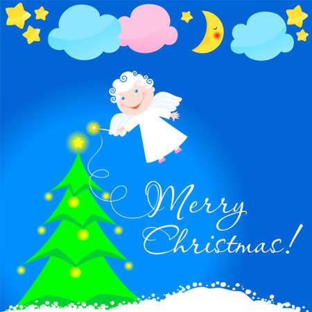 angel lights a Christmas fur-tree Vector