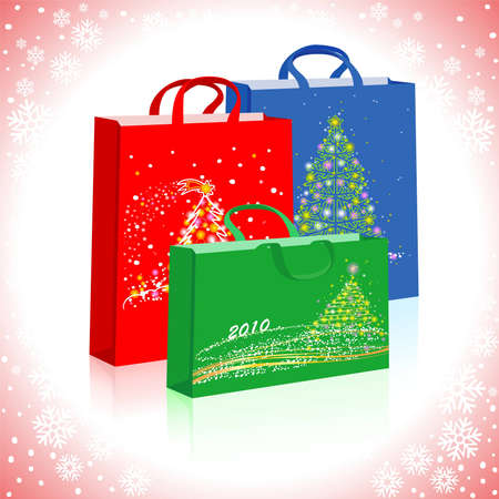 Three different bags with New Year's pictures