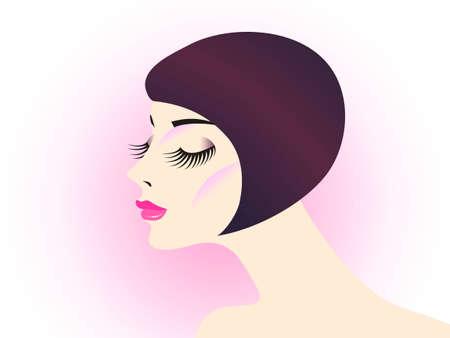 long eyelashes: girl with long eyelashes on pink background