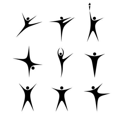 set of stylized black figures