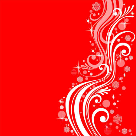 Abstract white patterns on a red background