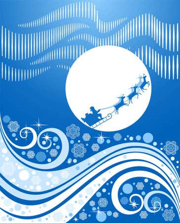 klaus: Santa Klaus on deer flies on the Christmas sky