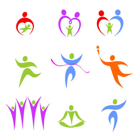 Set of the stylized figures on a theme sports and a family Illustration