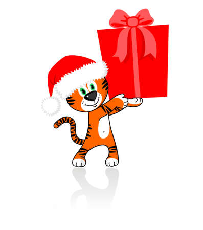 klaus: tiger in a cap of Santa Klaus holds a gift