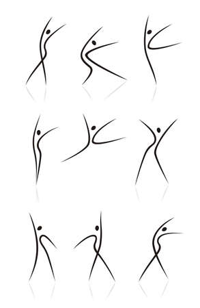 sports form: abstract female figures in movement Illustration
