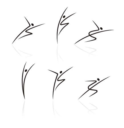 stylized figures of people in movement