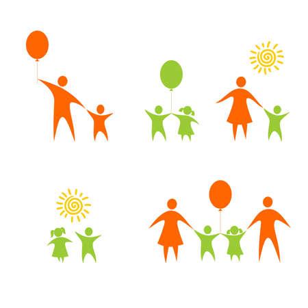 Chiffres des enfants et des parents sur un fond blanc