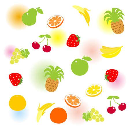 pineapples: Desenfoca el conjunto de frutas con color