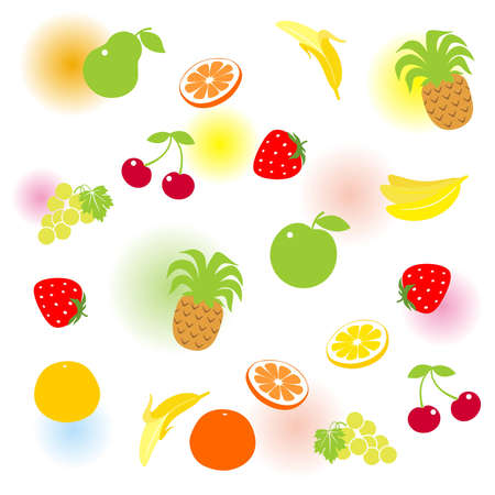 Set of fruit with color blurs