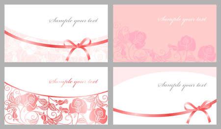 Congratulatory cards in pink tones Illustration
