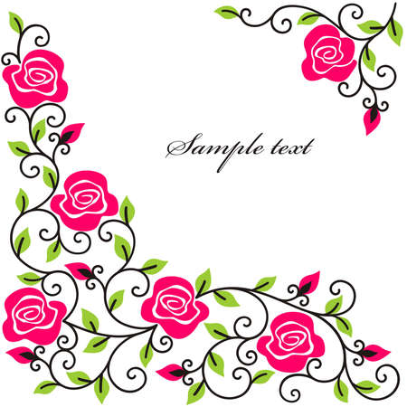 fine lines: stylised roses on a white background