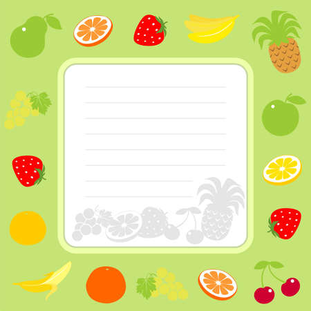 border on a green background with fruit