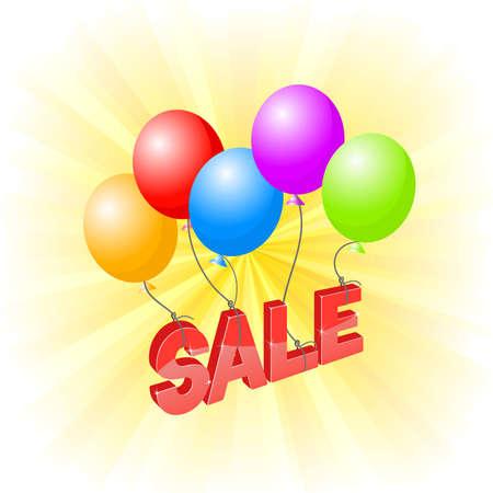 inscription sale flies on balloons Illustration