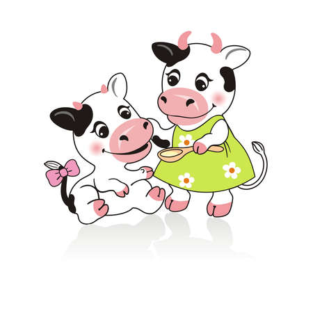 forage: Cow and the calf on a white background
