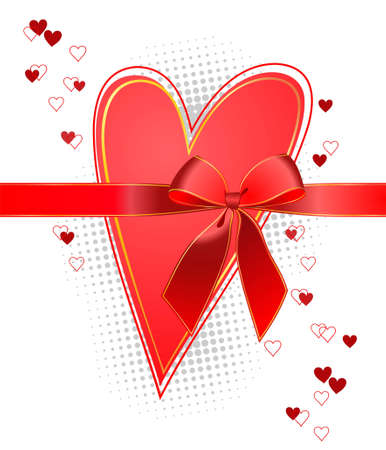 heart with a red bow on a white background