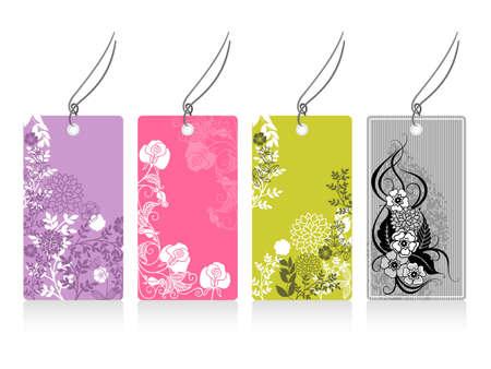 labels with flower motives Illustration