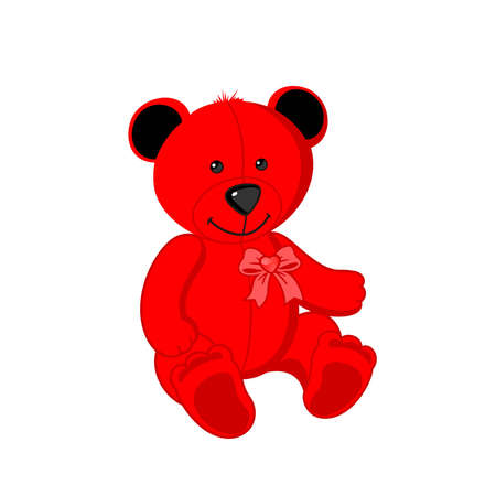 Toy red bear on a white background