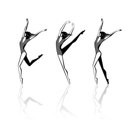 black stylised female figures in movement