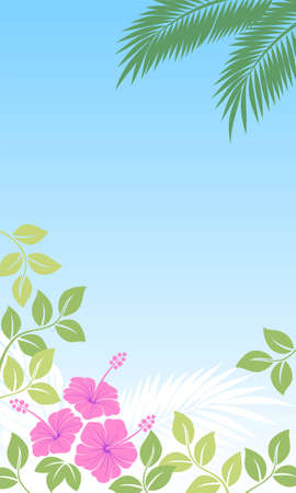 blue background with abstract exotic plants