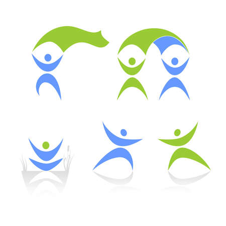 animal logo: abstract human figures on a white background