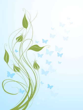 tonality: background with butterflies and abstract plants Illustration